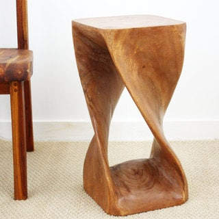 Brown Stain Natural Wax 23-inch Twist Stool (Thailand)