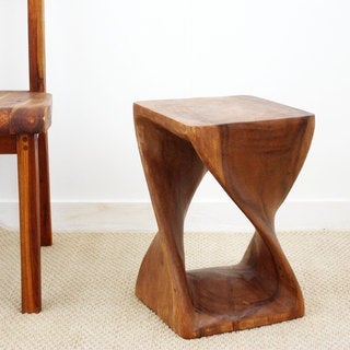 Brown Stain Natural Wax 18-inch Twist Stool (Thailand)