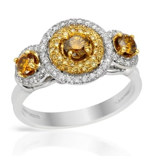 Italy by Contessa 18k Two-tone Gold 1ct TDW Fancy Multi-color Diamond Ring (H-I, SI1-SI2)