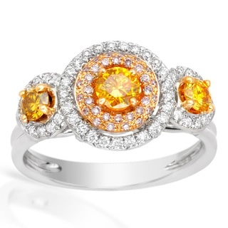 Italy by Contessa 18k Two-tone Gold 1ct TDW Fancy Yellow, White and Pink Halo Diamond Ring (H-I, SI1-SI2)