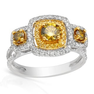 Italy by Contessa 18k Two-tone Gold 1 1/4ct TDW Fancy Yellow and White Diamond Ring (G-H, I1-I2)