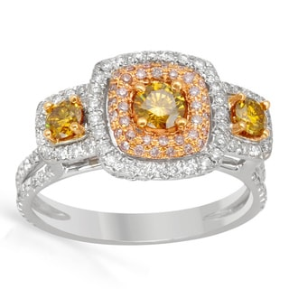 Italy by Contessa 18k Two-tone Gold 1 1/6ct TDW Fancy Yellow, Pink and White Halo Diamond Ring (H-I, SI1-SI2)