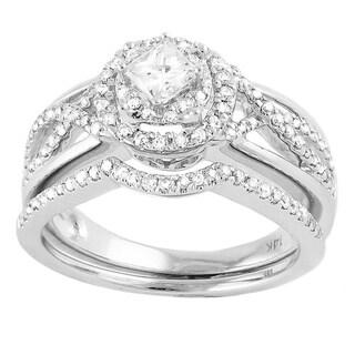 Beverly Hills Charm 14k White Gold 4/5ct TDW Bridal Ring Set (H-I, SI2-I1)
