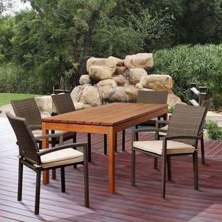 Adriana 7-piece Eucalyptus and Wicker Outdoor Dining Set