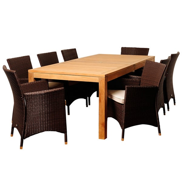 zoe 9 piece teak and wicker outdoor dining set overstock shopping