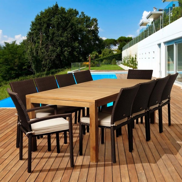 teak 11 pc teak wicker outdoor dining set patio furniture