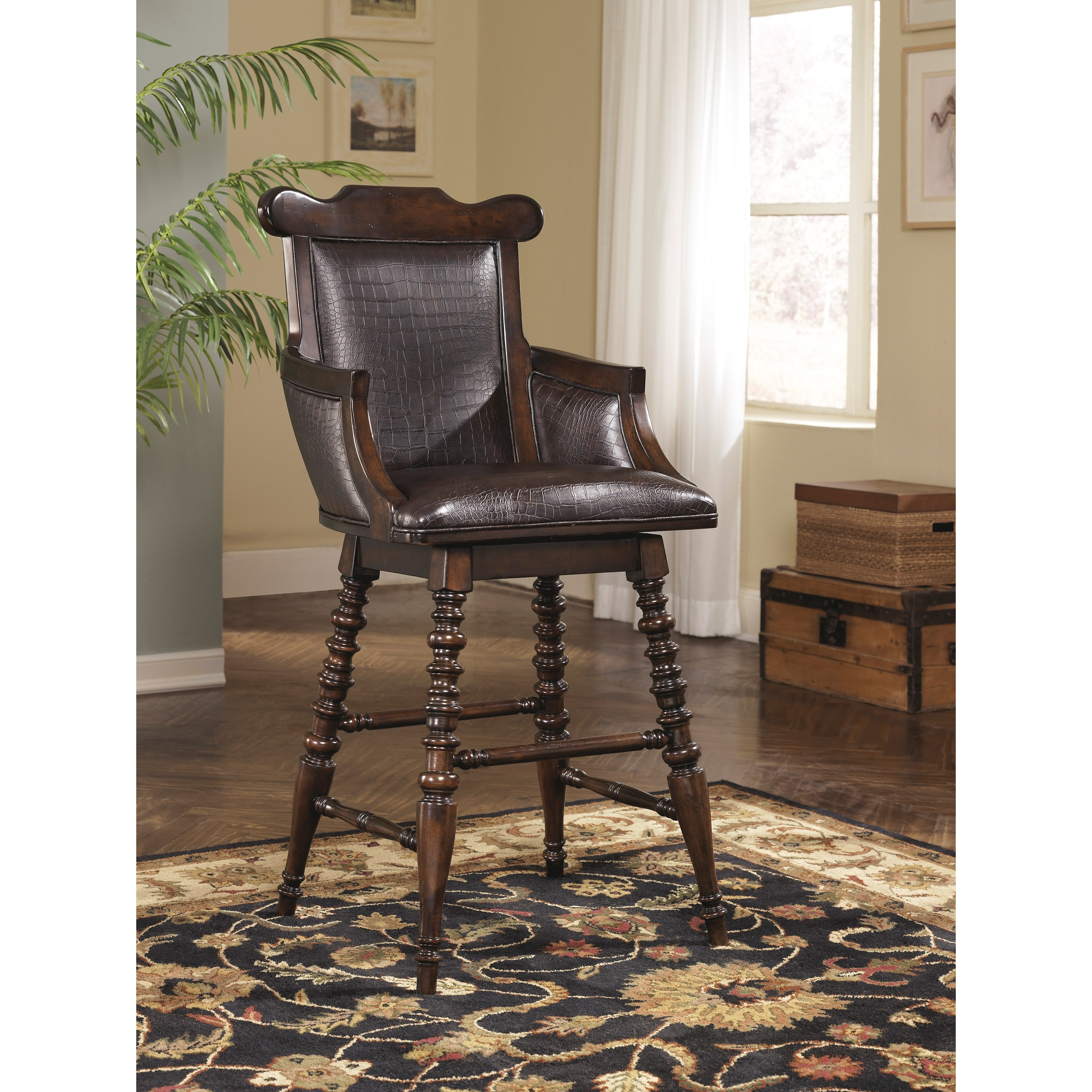 Signature Design by Ashley Key Town Dark Brown Tall Upholstered Swivel Barstool