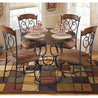 Signature Design by Ashley 'Nola' Dark Brown 5-piece Round Dining Room Table Set