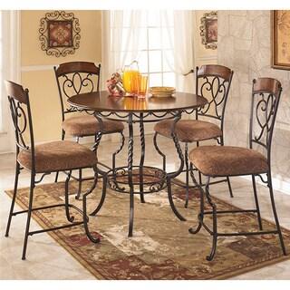 Signature Design by Ashley 'Nola' Round Dark Brown 5-piece Table Set