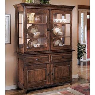 Signature Design by Ashley 'Larchmont' Dark Brown Dining Room Buffet and Hutch