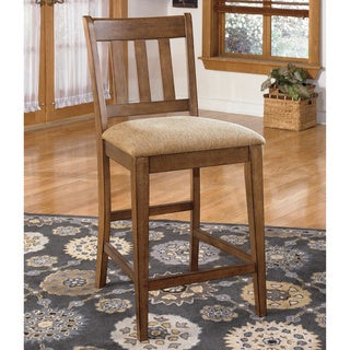 Signature Design by Ashley 'Brazenton' Brown Ladderback Upholstered Bar Stool (Set of 2)