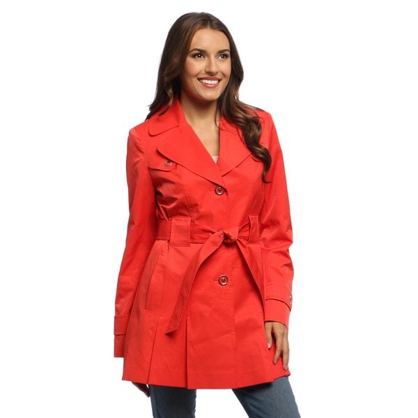 Via Spiga Petite Women's Orange Water-resistant Rain Trench Coat