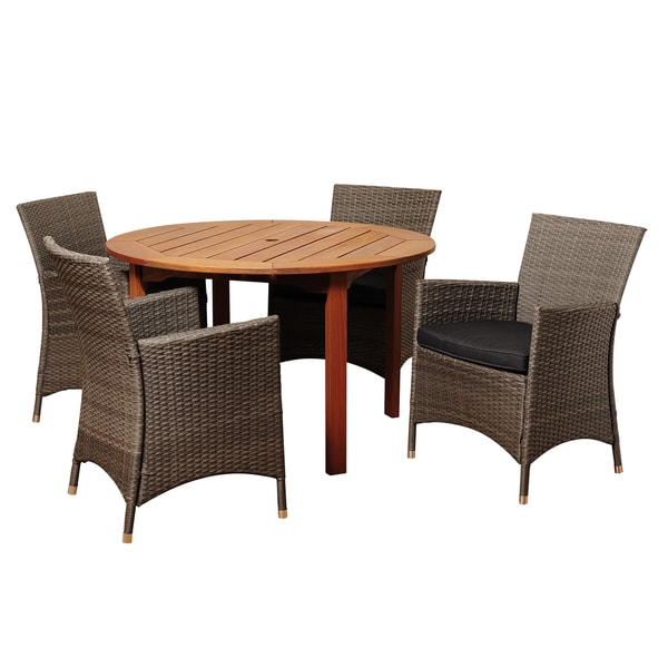 highland 5 piece wood patio dining furniture set images