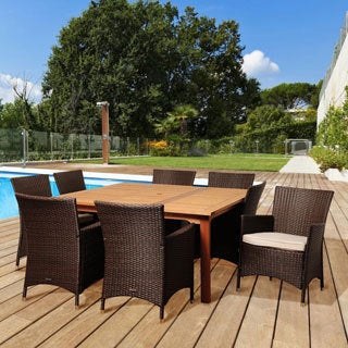 Amazonia Wendy 9-piece Wood/ Wicker Outdoor Dining Set