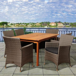 Carla 7-piece Wood/ Wicker Outdoor Dining Set