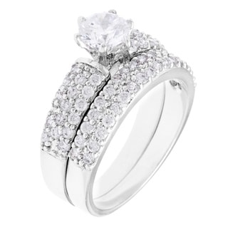 Simon Frank White Rhodium-plated Cubic Zirconia Bridal-inspired Ring Set