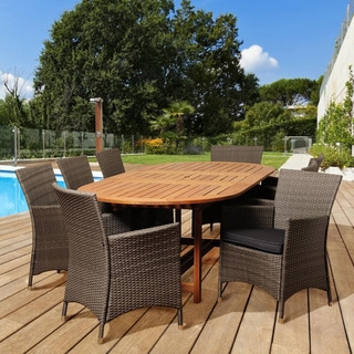 Brittany 9-piece Wood/ Wicker Outdoor Dining Set