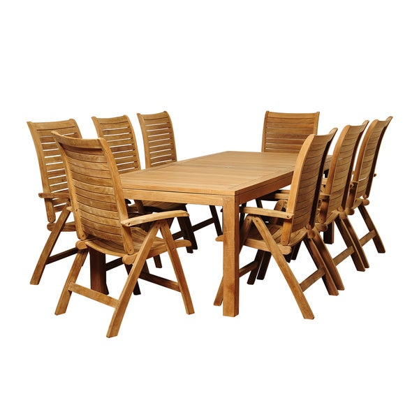 stephanie 9 piece teak outdoor dining set overstock shopping