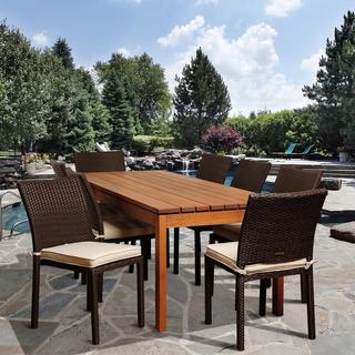 Amazonia Francine 9-piece Wood/ Wicker Outdoor Dining Set
