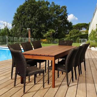 Amazonia Francesca 9-piece Wood/ Wicker Outdoor Dining Set