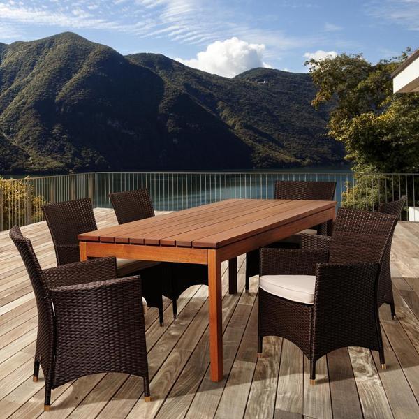 Amazonia Bianca 7-piece Eucalyptus Wood/ Wicker Rectangular Outdoor Dining Set