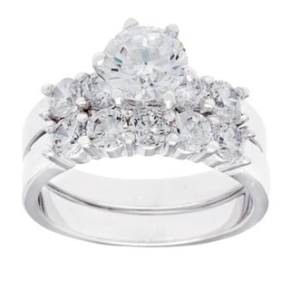 Simon Frank White Rhodium Overlay Cubic Zirconia Bridal-inspired Ring Set