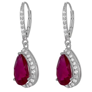 Gioelli Sterling Silver Created Gemstone White Sapphire Accented Leverback Earrings