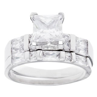 Simon Frank White Rhodium Overlay Cubic Zirconia Bridal Ring Set