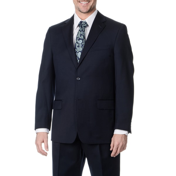 Henry Grethel Men's Big and Tall Long 2-button Navy Suit Jacket