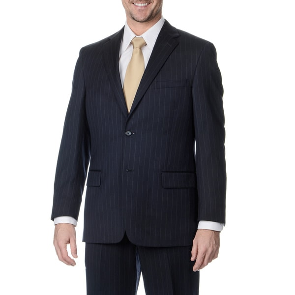 Henry Grethel Men's Big and Tall Long 2-button Navy Stripe Suit Jacket