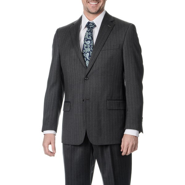 Henry Grethel Men's Big and Tall 2-button Single Vent Grey Stripe Suit Jacket