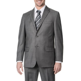 Henry Grethel Men's Big and Tall Long 2-button Sharkskin Suit Jacket