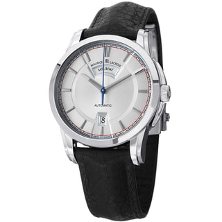 Maurice Lacriox Men's PT6158-SS001-131 'Pontos' Silver Dial Black Leather Strap Watch
