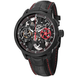 Maurice Lacriox Men's MP7128-SS001-300 'MasterPiece' Black Skeleton Dial Chronographe Watch