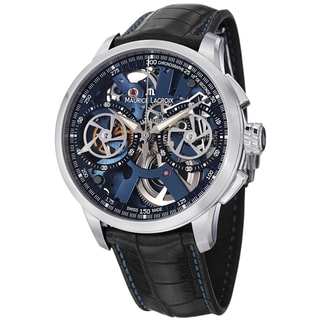 Maurice Lacriox Men's MP7128-SS001-400 'MasterPiece' Blue Skeleton Dial Black Leather Strap Watch