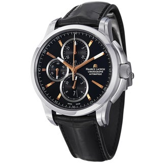 Maurice Lacriox Men's PT6188-SS001-332 'Pontos' Black Dial Black Strap Chronograph Watch