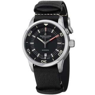 Maurice Lacriox Men's PT6248-SS001-330 'Pontos Diver' Black Leather Strap Watch