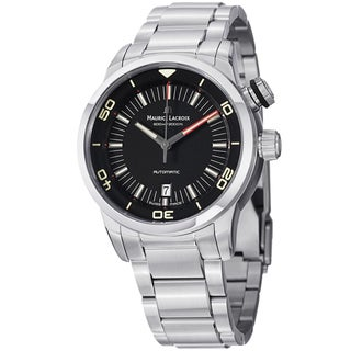 Maurice Lacriox Men's PT6248-SS002-330 'Pontos Diver' Black Dial Stainless Steel Bracelet Watch