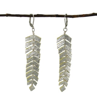 Handmade Feather Fringed Leather Earrings - Silver (India)