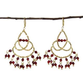 Handmade Maharaja Chandelier Earrings - Burgundy (India)