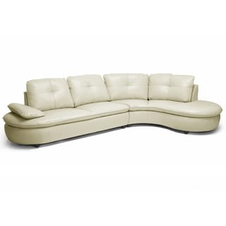 Baxton Studio Hilaria Beige Leather Modern Sectional Sofa with Bonus End Table
