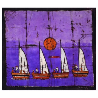 Hand-batiked 'The Fleet' Wall Hanging (Mozambique)