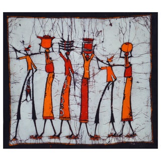 Hand-batiked 'The Walk Home' Wall Hanging (Mozambique)