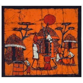 Hand-batiked 'Dinner Preparations' Wall Hanging (Mozambique)