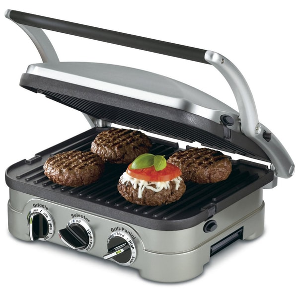 Cuisinart GRID-8N 5-in-1 Griddle Contact Countertop Grill Panini Press (Refurbished)