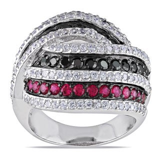Miadora Sterling Silver Multi-color Cubic Zirconia Ring