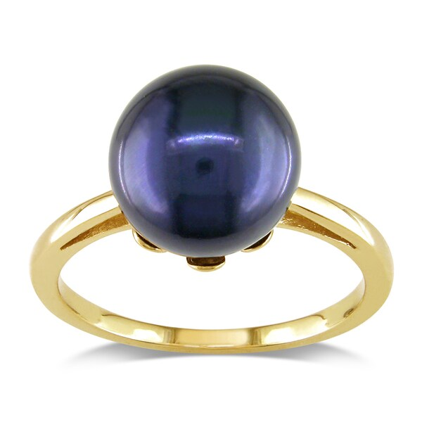 Miadora 14k Yellow Gold Black Cultured Freshwater Pearl Cocktail Ring (10-10.5 mm)