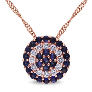 Miadora 14k Rose Gold Sapphire and 1/10ct TDW Diamond Halo Necklace (G-H, SI1-SI2)