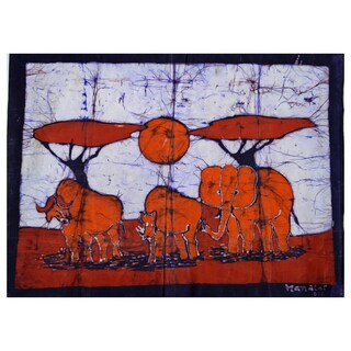 Hand-batiked 'Feeding at Dawn' Wall Hanging (Mozambique)