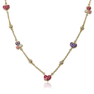 Little Miss Twin Stars 14k Goldplated Pear and Assorted Heart I Love My Jewels Chain Necklace